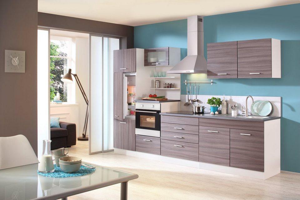 Küchenzeile mit E-Geräten »Cannes«, Breite 300 cm in eichefarben dunkel