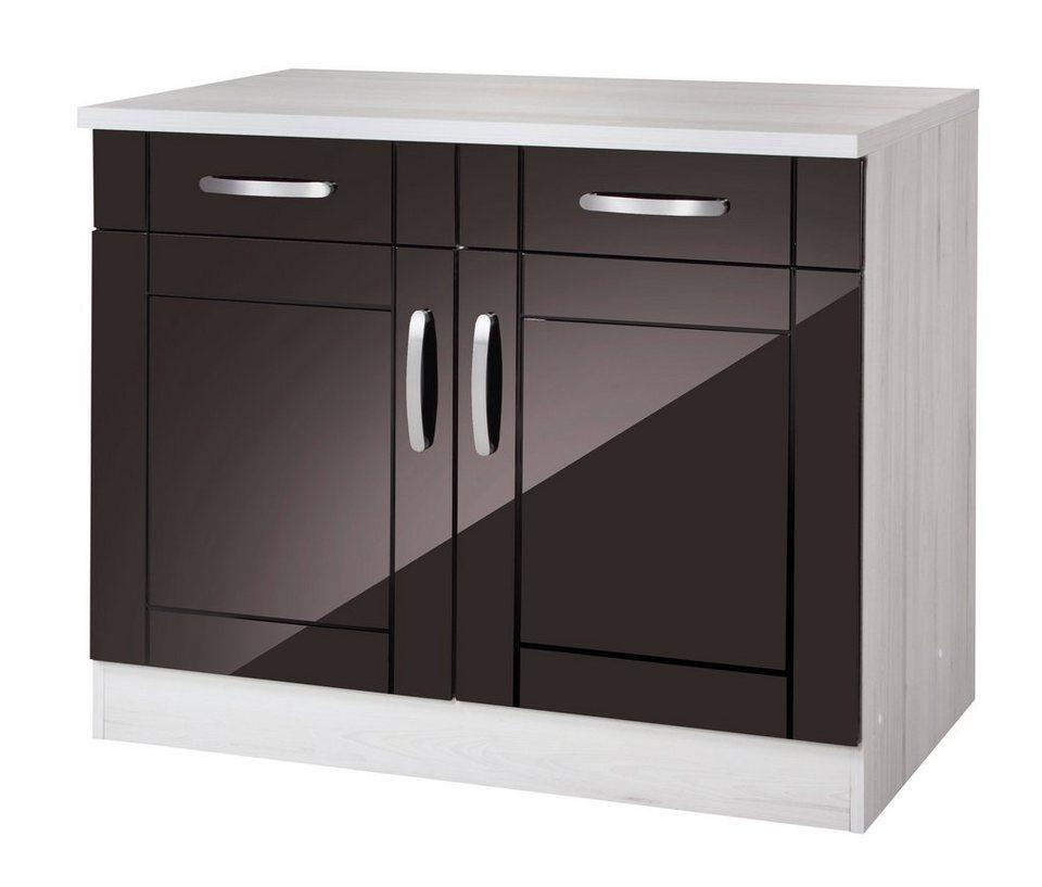 Küchenunterschrank »Calais«, Breite 100 cm in schwarz/polareichefarben