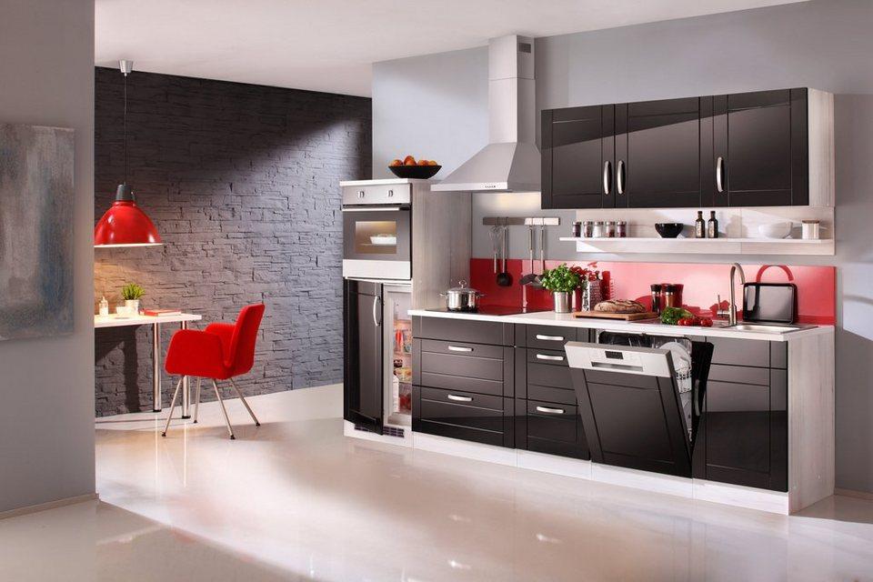 Küchenzeile mit E-Geräten »Calais«, Breite 300 cm in schwarz/polareichefarben