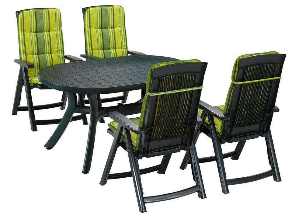 9-tgl. Gartenmöbelset »Kansas«, 4 Klappsessel, Tisch 145x95 cm, Kunststoff, grün in grün