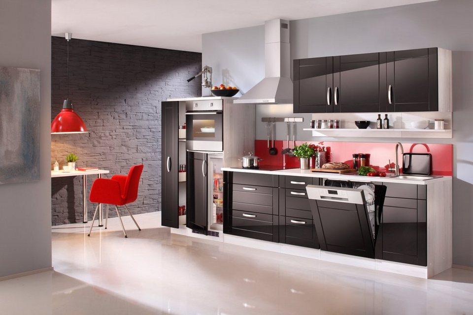Küchenzeile mit E-Geräten »Calais«, Breite 330 cm in schwarz/polareichefarben