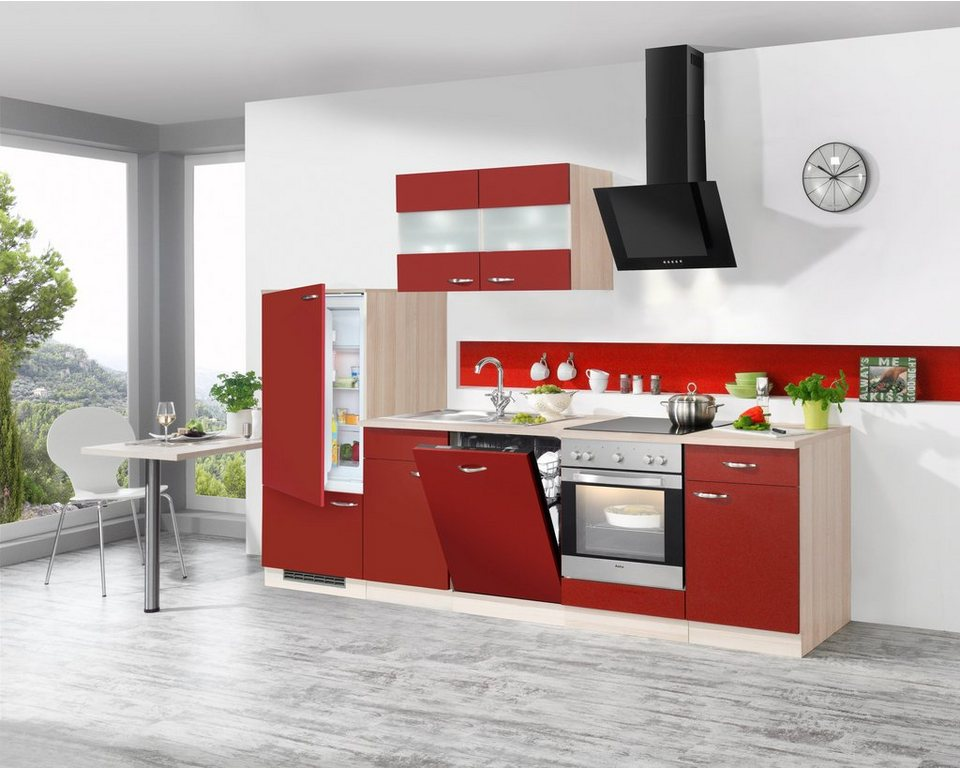 Küchen Idee   Rote Küchenzeile Im Eleganten Design