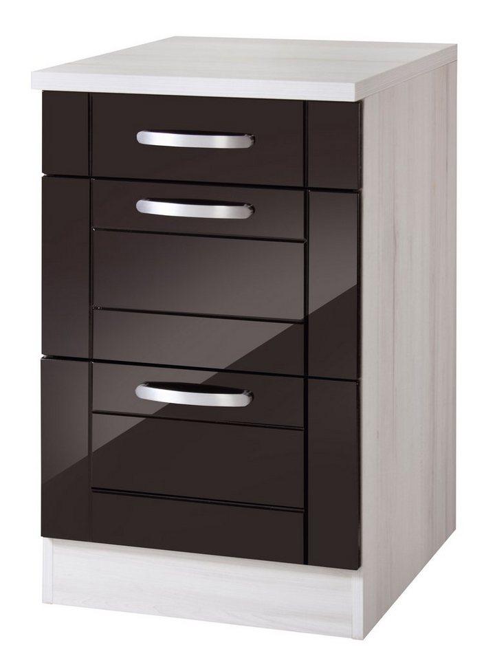 Held Möbel Küchenunterschrank »Calais«, Breite 50 cm in schwarz/polareichefarben