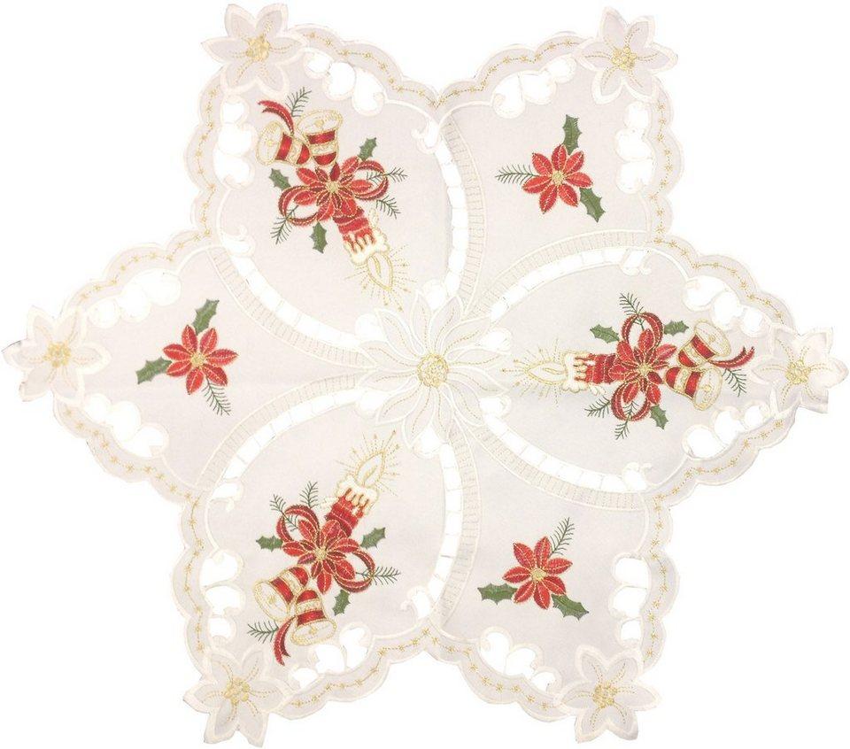 Dreams Tischdecke im weihnachtlichen Design in weiß/tanne/goldfarben/rot