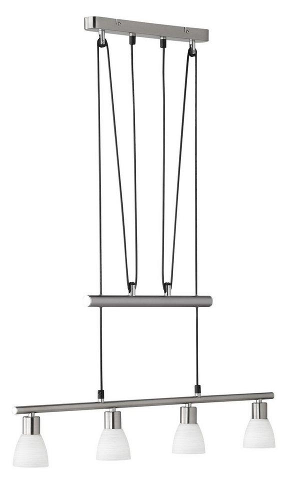 Trio LED-Pendelleuchte, 4flg., »CARICO« in nickelfarben, matt, Glas weiß gewischt
