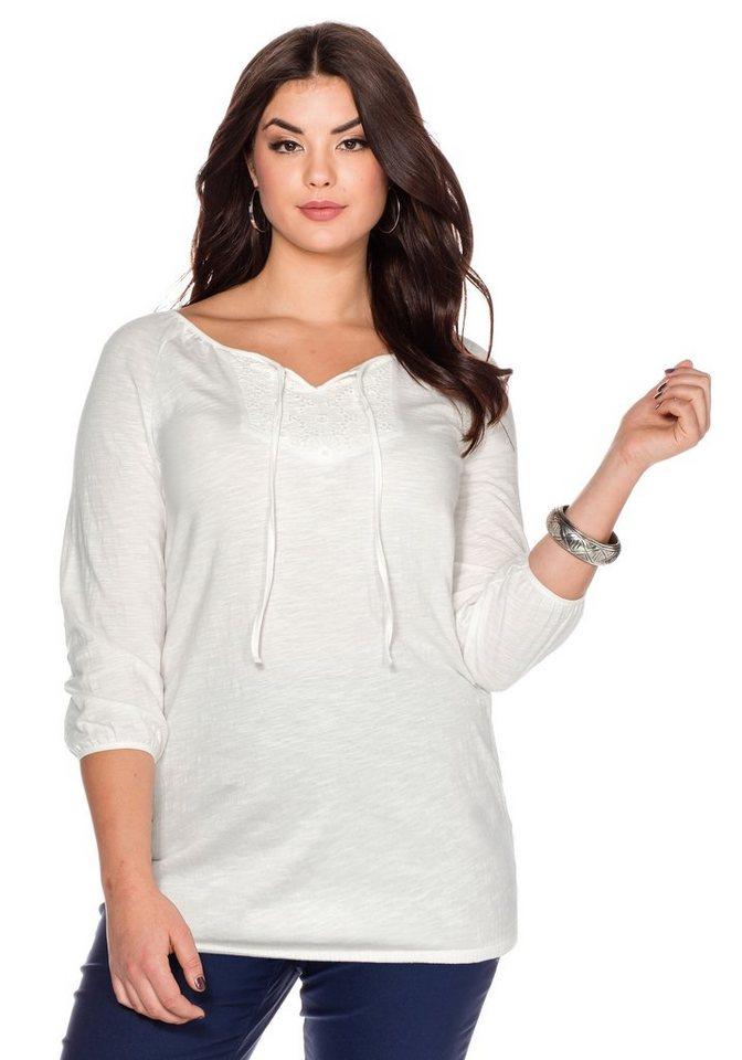 sheego Style Langarmshirt in offwhite