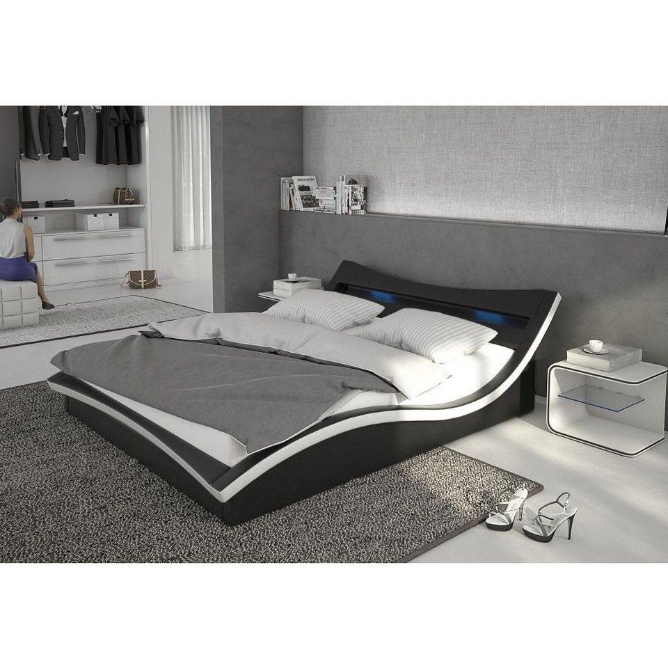 Innocent Polsterbett aus Kunstleder inkl. Lattenrost mit blauer LED-Beleu »Magari«