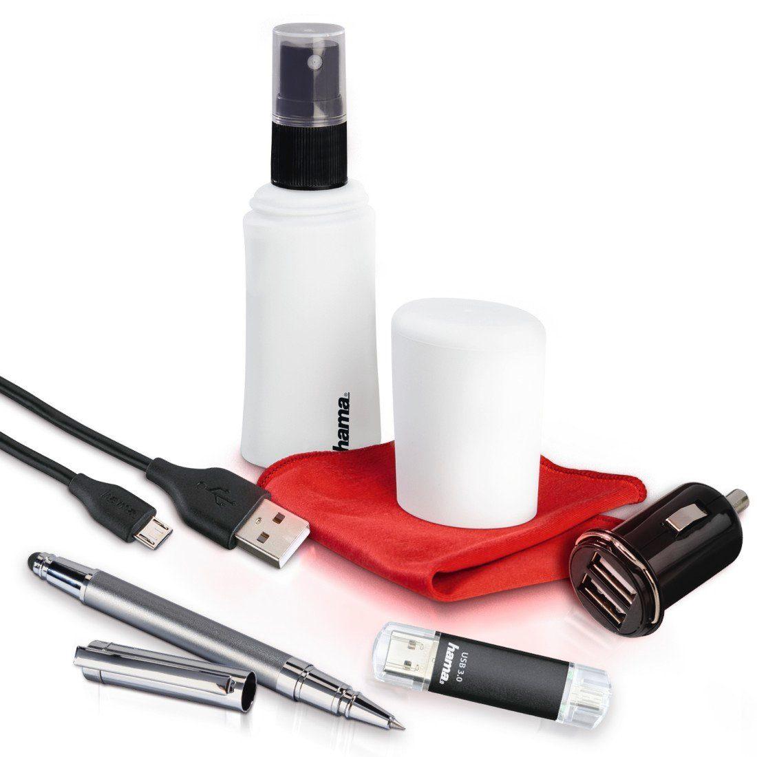Hama Tablet/Handy Set 5-tlg: Kfz Ladegerät, microUSB Kabel USB- »Stick Eingabestift Reinigung«