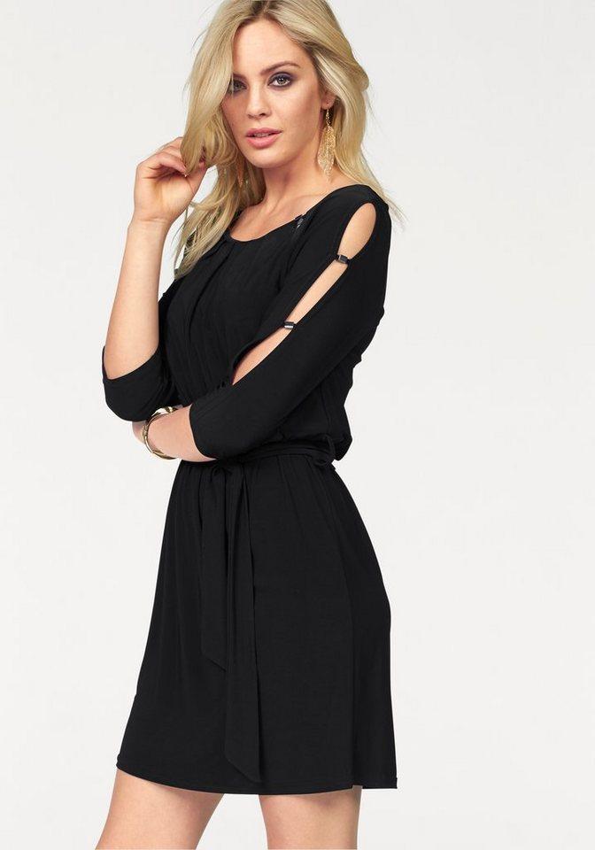 Melrose Jerseykleid mit geschlitzten Ärmeln in schwarz