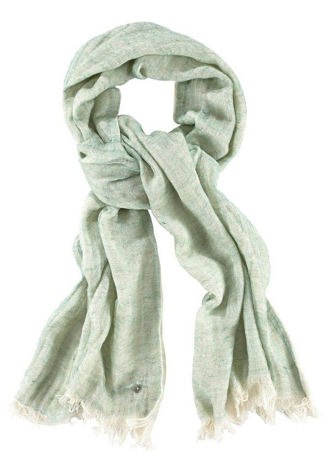 Bogner Jeans Modeschal in grün-wollweiß