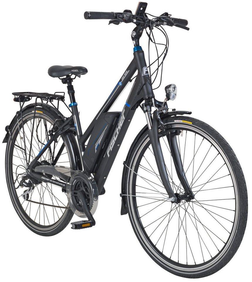 E-Bike Trekking Damen »ETD1616«, 28 Zoll, 24 Gang, Heckmotor, 418 Wh in grau