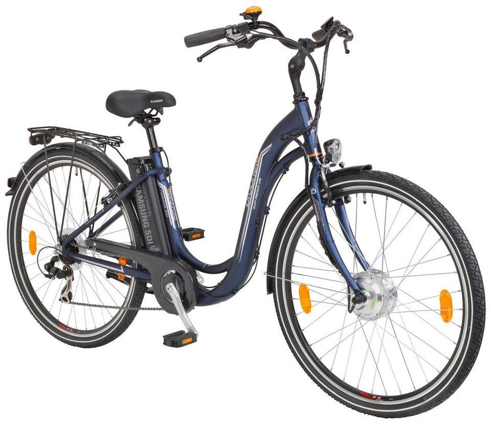 E-Bike City Damen »Navigator 300«, 26/28 Zoll, 7 Gang, Frontmotor, 240 Wh in blau