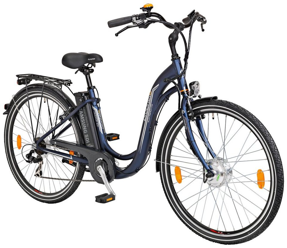 prophete e bike city damen navigator 300 26 28 zoll 7 gang frontmotor 240 wh online kaufen. Black Bedroom Furniture Sets. Home Design Ideas