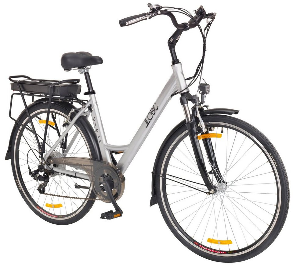 E-Bike City Damen »Urban «, 28 Zoll, 7 Gang, Heckmotor, 360 Wh in silberfarben