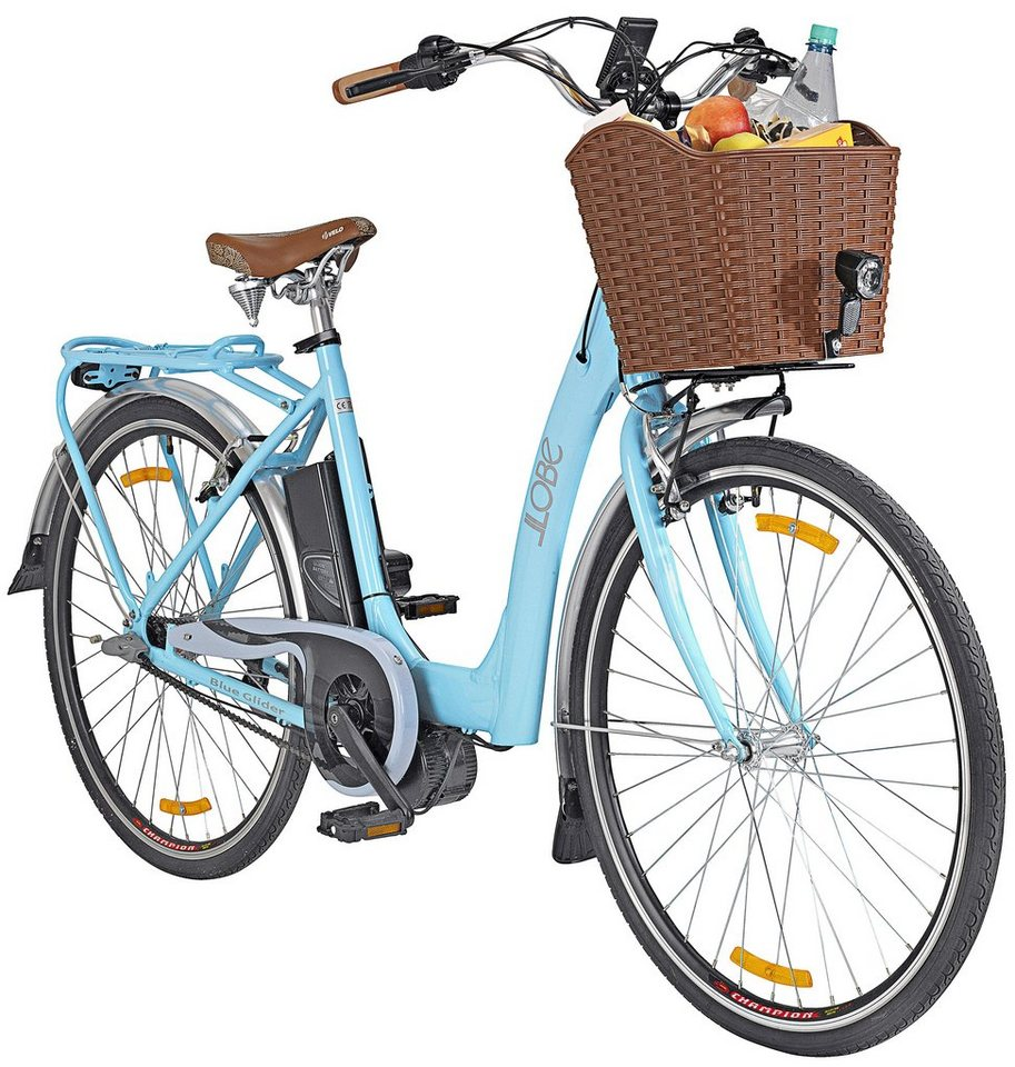 E-Bike City Damen »Blue Glider«, 28 Zoll, 3 Gang, Mittelmotor, 374 Wh in blau