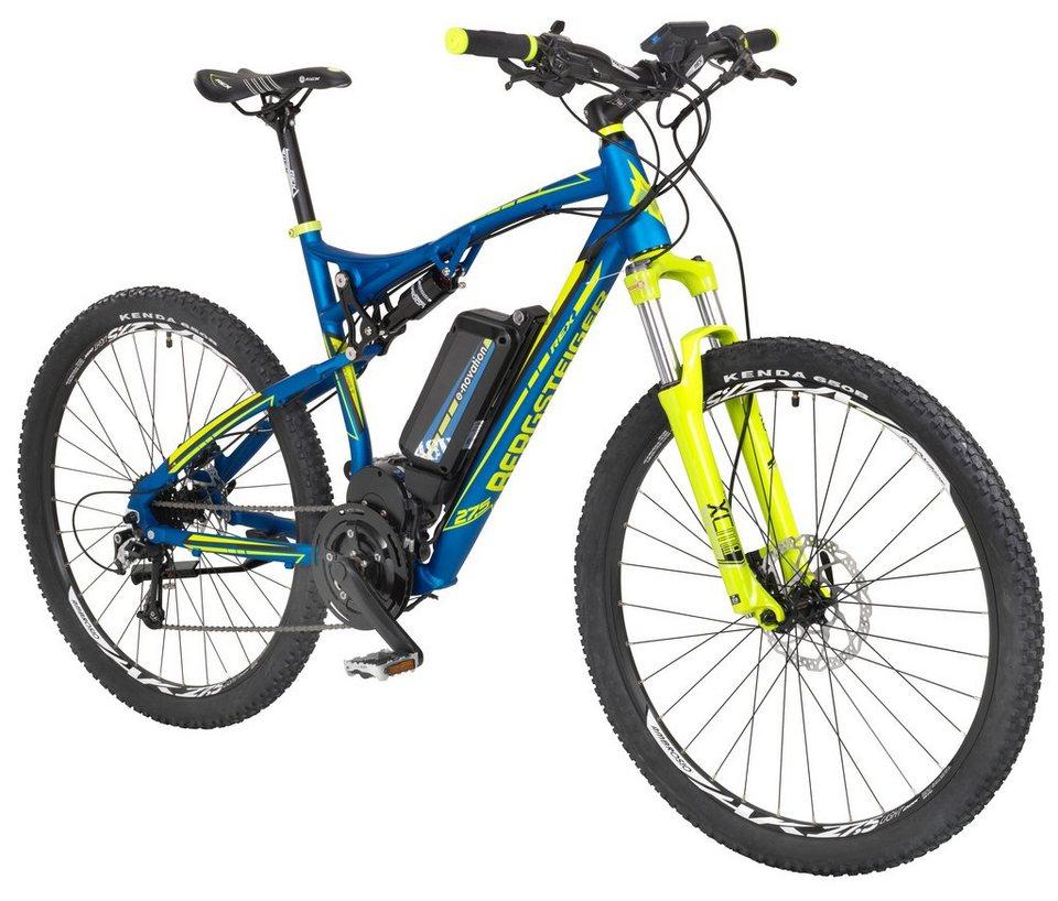 REX E-Bike Mountainbike »Bergsteiger 6.9«, 27,5 Zoll, 9 Gang, Mittelmotor, 422 Wh in blau