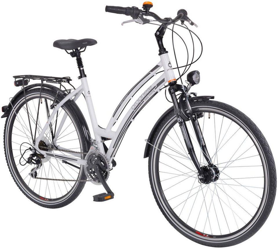Trekkingrad (Damen) »ENTDECKER 600, 28 Zoll«, SHIMANO Acera 24 Gang, Inkl. Doppelpacktasche in weiß