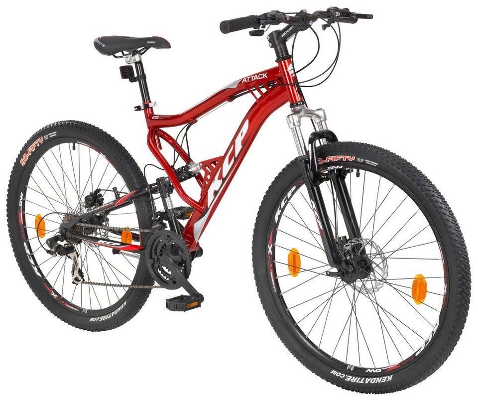 Mountainbike »ATTACK rot«, 27,5 Zoll, 21 Gang, Scheibenbremsen in rot