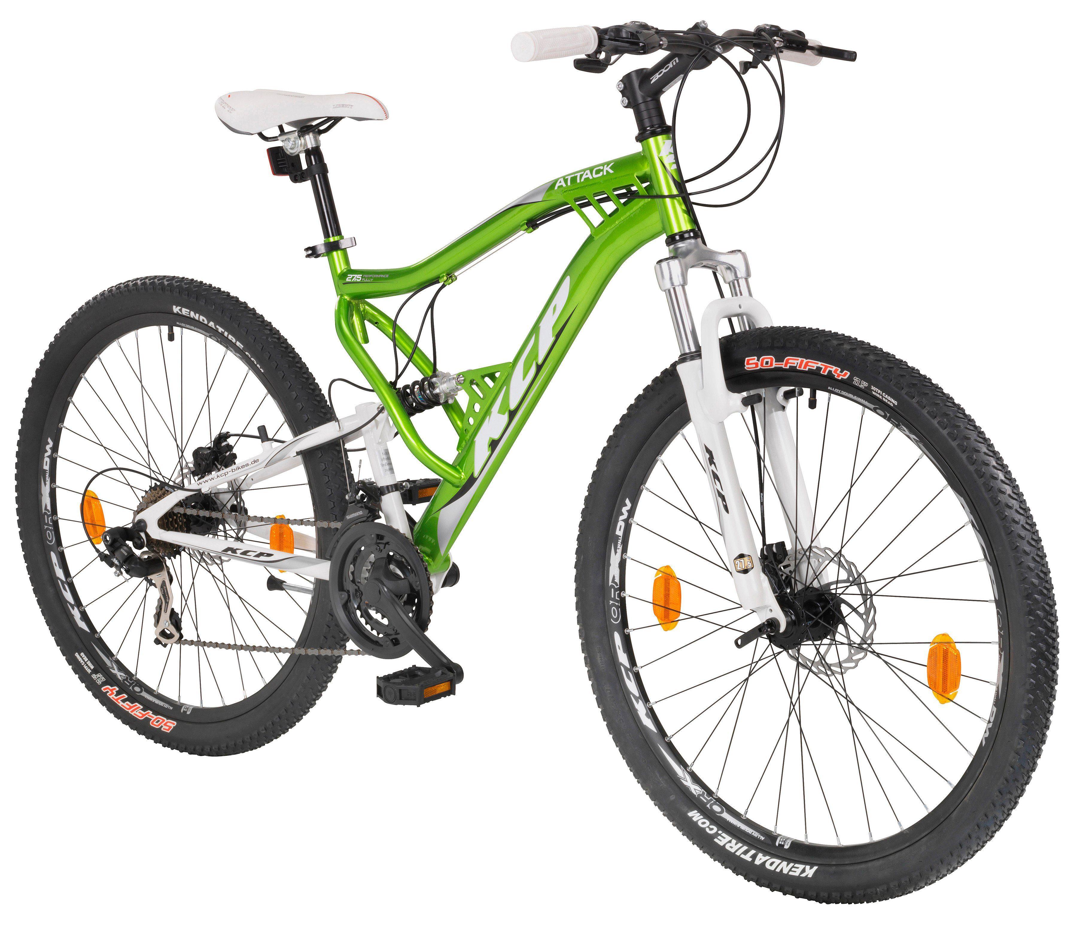 KCP Mountainbike »ATTACK grün«, 27,5 Zoll, 21 Gang, Scheibenbremsen