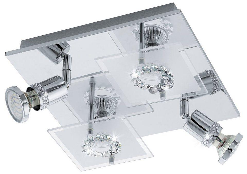 Eglo LED-Deckenleuchte, 4flg., »BALERNA« in chromfarben, Glas, satiniert/klar mit Kristalldekor