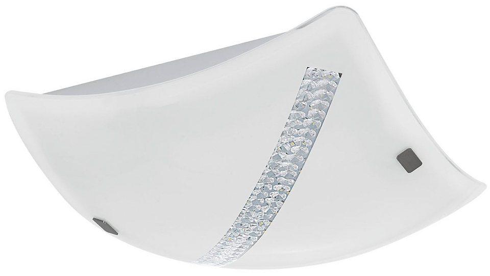 Eglo LED-Deckenleuchte, 1flg., »OSSEJA« in Glas, weiß mit Kristalldekor