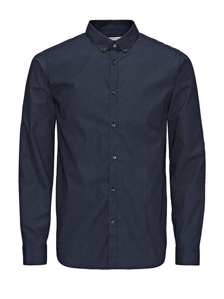 Jack & Jones Smartes Popeline-Print Businesshemd in Dark Navy