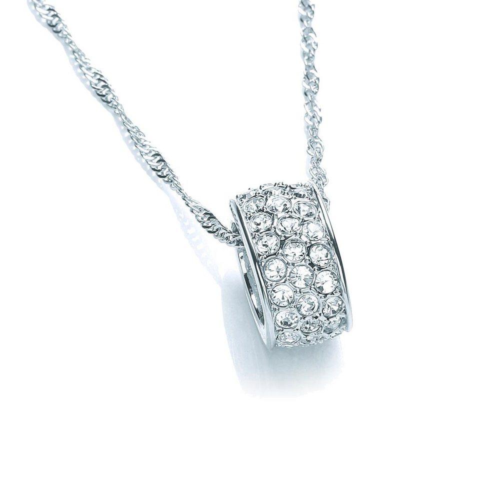 Buckley London Collier »rhodiniert mit weißen Kristallen« in weiß