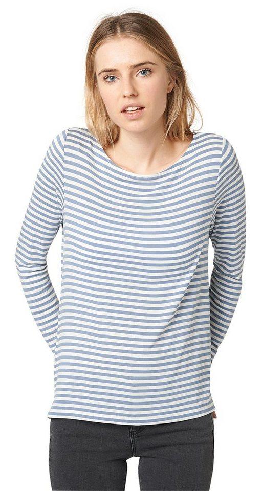 TOM TAILOR DENIM T-Shirt »Langarm-Shirt mit Streifen« in greyish mid blue