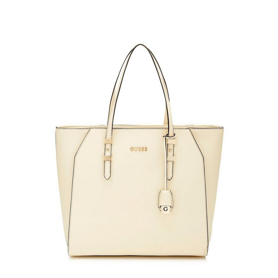 Guess Sissi Medium Saffiano Tote in Weiß