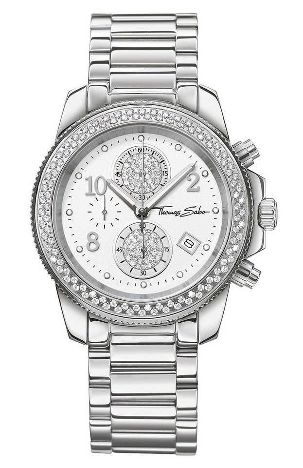 Thomas Sabo Chronograph »GLAM CHRONO, WA0201« in silberfarben