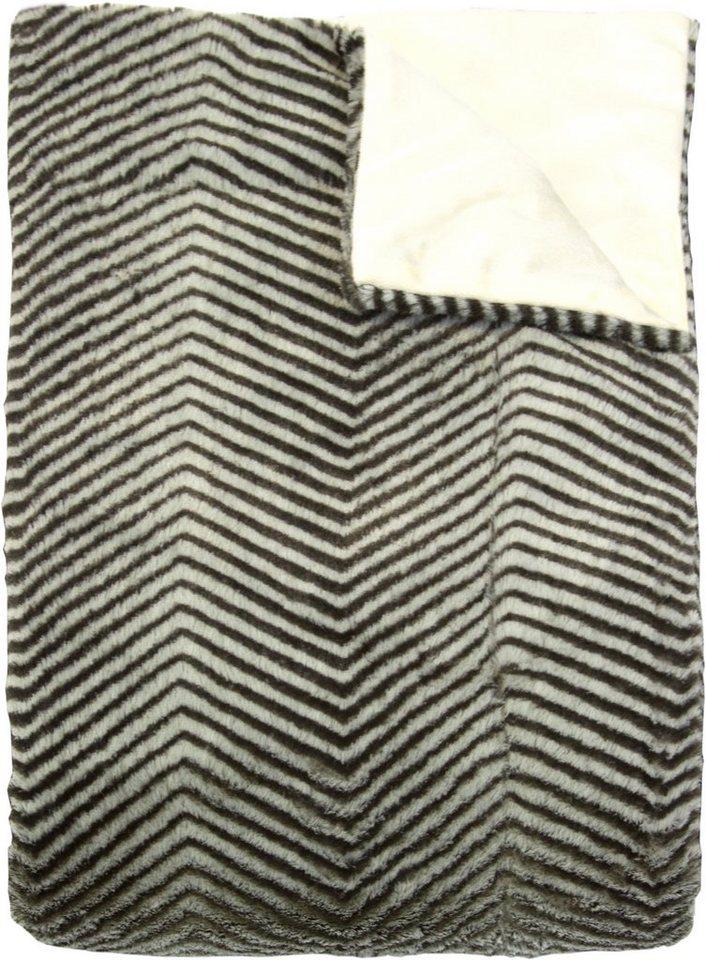 Wohndecke, Hagemann, »Waschbär«, mit Zickzack-Muster in schwarz-grau