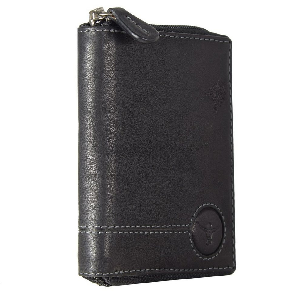 Chiemsee Wetland Geldbörse Leder 10,5 cm in schwarz
