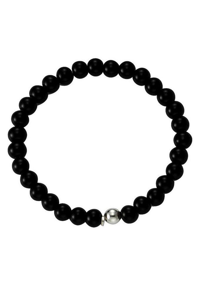 firetti Stretch-Armband, »Achat« in silberfarben/schwarz