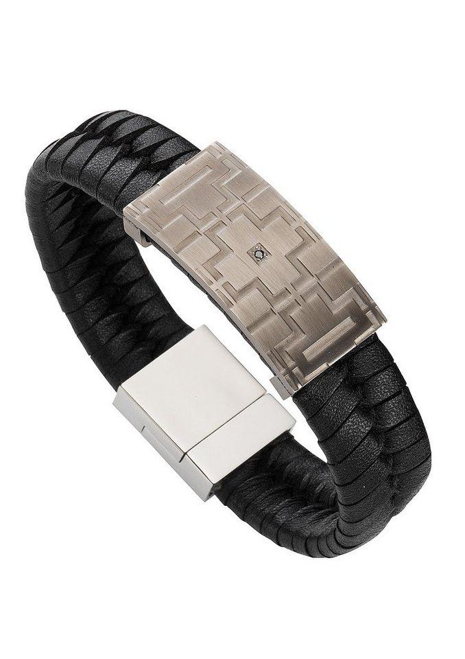 firetti Armband Lederband und Zirkonia, »Kreuz« in silberfarben/schwarz