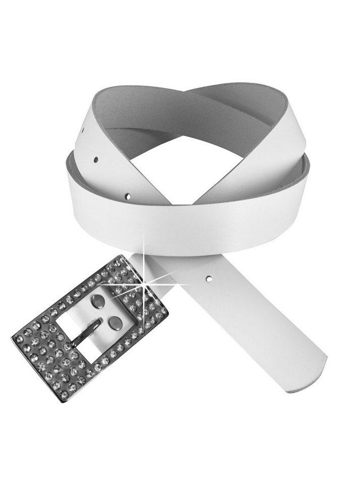 J. Jayz Ledergürtel mit Strass-Schließe in weiß