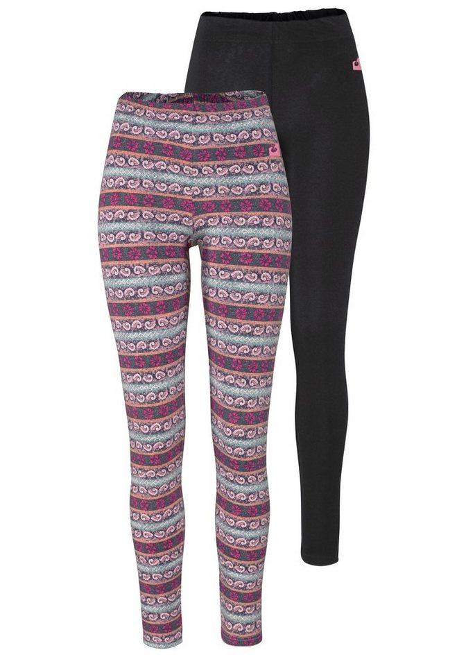 Ocean Sportswear Leggings (Packung, 2 tlg., 2er-Pack) in rosa-bedruckt+schwarz