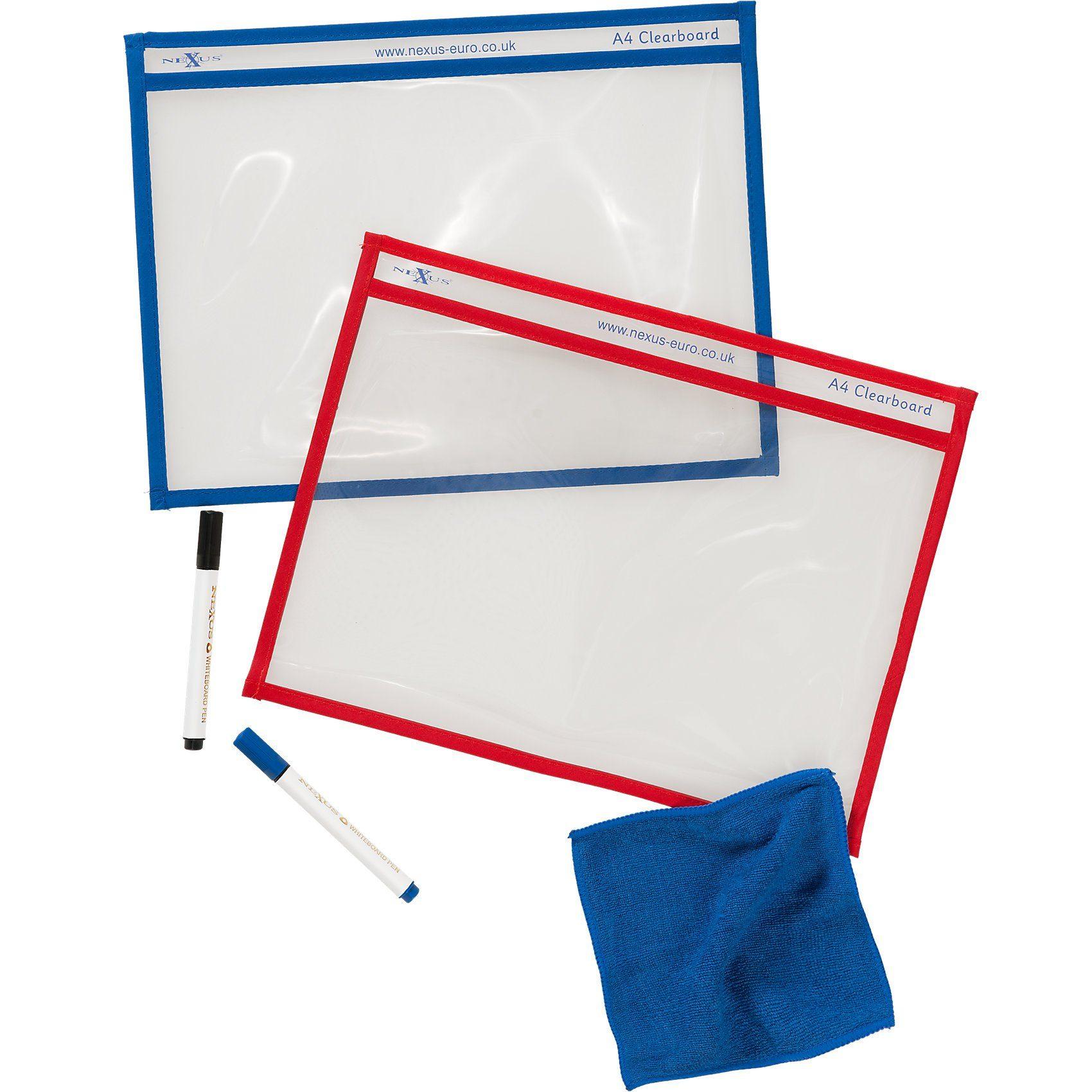 EDUPLAY Whiteboard-Set - Löschlappen, Transparenthüllen, Löschstifte