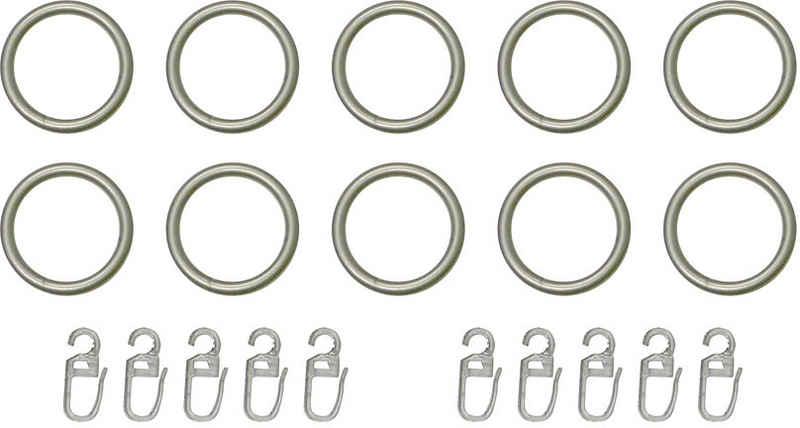 Gardinenring, indeko, Gardinenstangen, (Set, 10-St., mit Faltenlegehaken), für Vorhangstangen bis Ø 20 mm