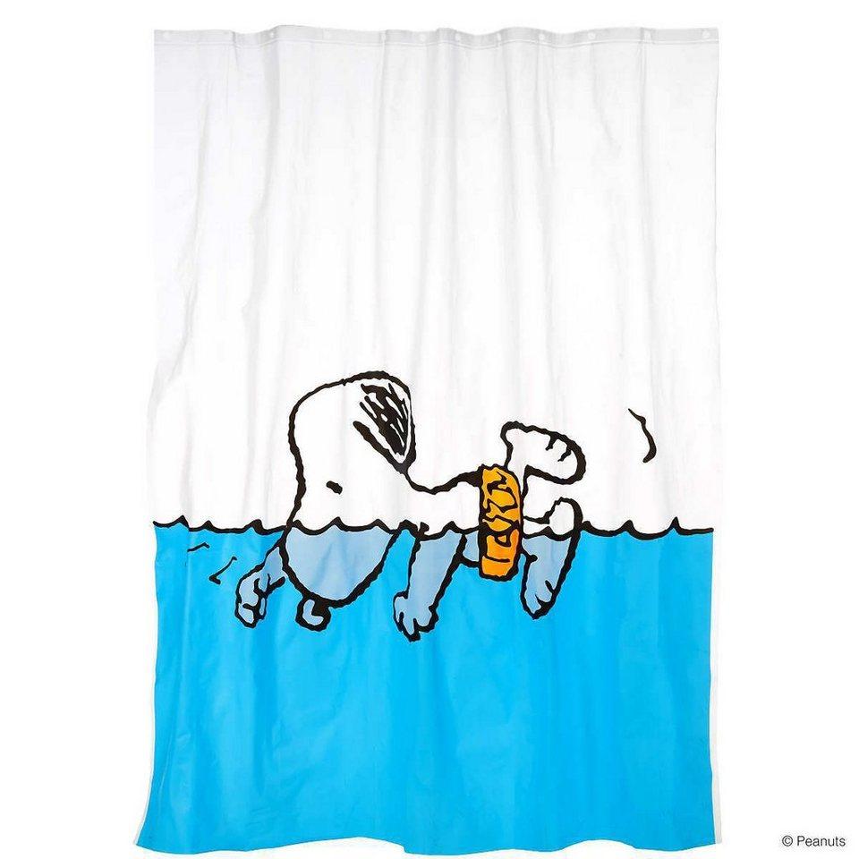 BUTLERS PEANUTS »Duschvorhang Snoopy schwimmend« in blau
