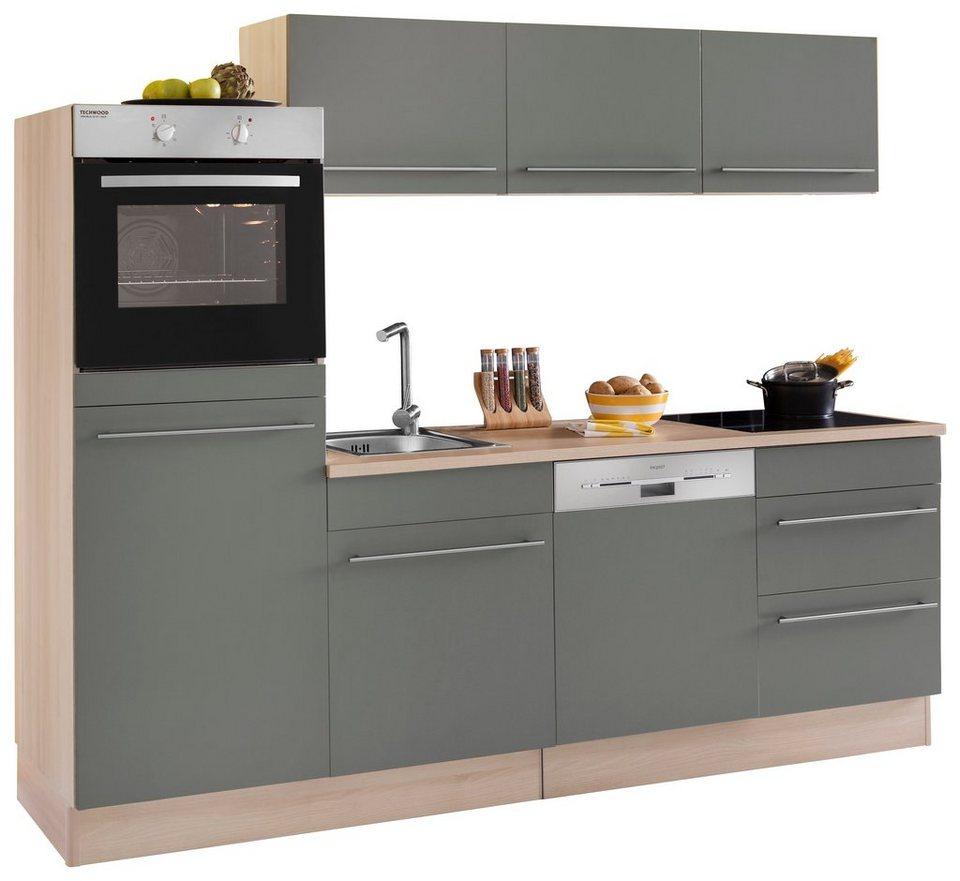 Optifit Küchenzeile mit E-Geräten »Bern«, Breite 240 cm in basaltgrau