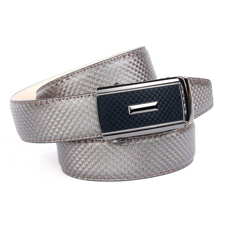 Anthoni Crown Ledergürtel in Designer-Prägung in Grau