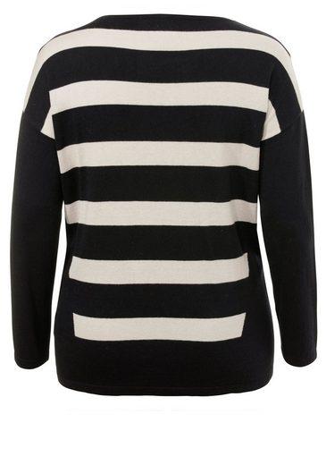 FRAPP Raffinierter Streifen-Pullover mit Pailletten Streifen & Pailletten