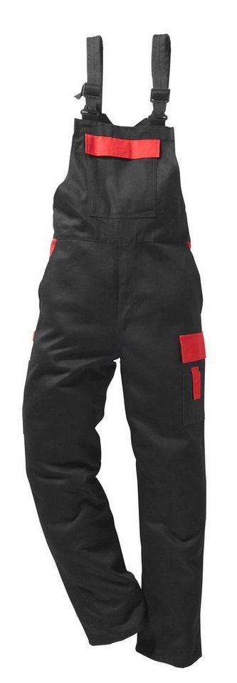 Latzhose »Basic Pro« in schwarz/rot