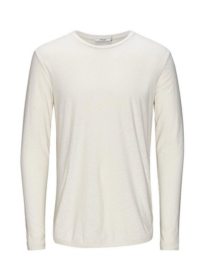 Jack & Jones Cooles Leinenmix T-Shirt mit langen Ärmeln in Whisper White