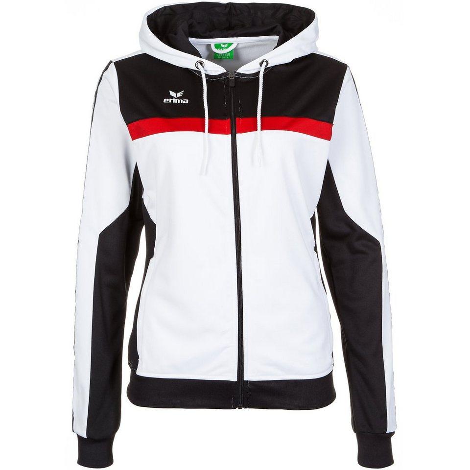 ERIMA 5-CUBES Trainingsjacke mit Kapuze Damen in weiß/schwarz/rot