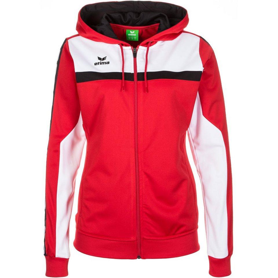 ERIMA 5-CUBES Trainingsjacke mit Kapuze Damen in rot/weiß/schwarz