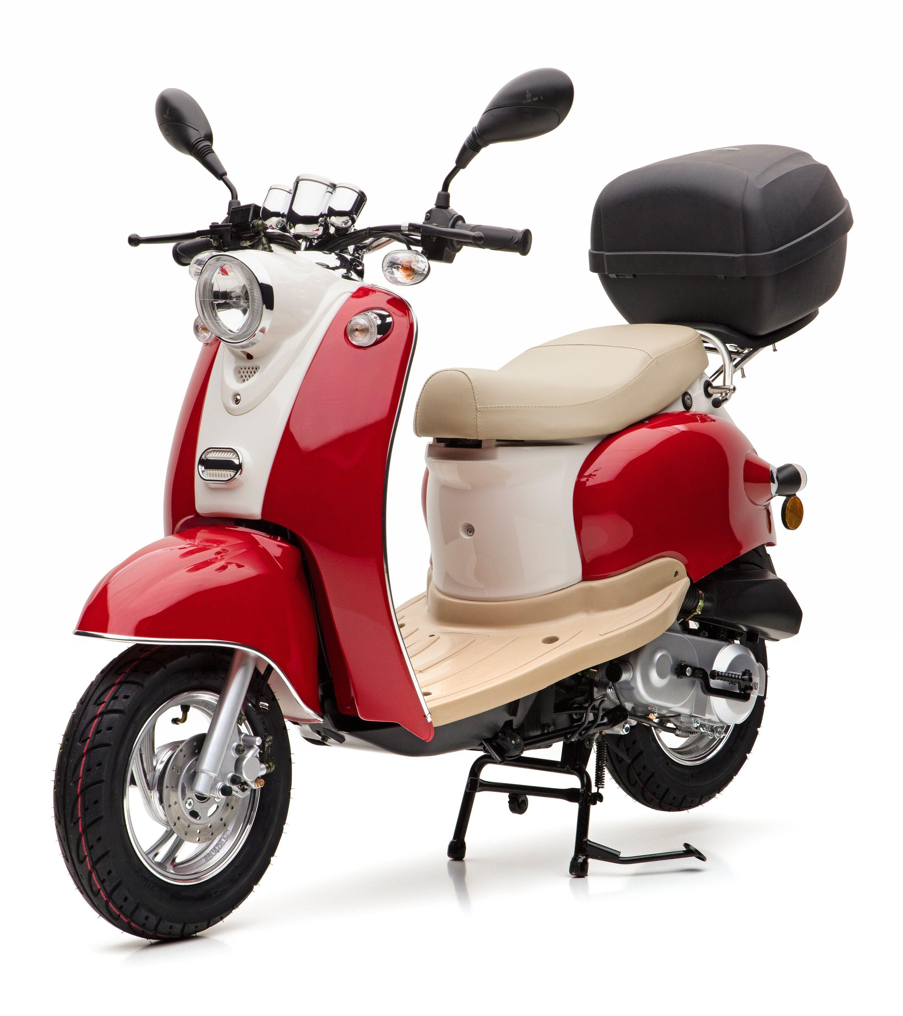 Nova Motors Motorroller inkl. Topcase, 49 ccm, 45 km/h, rot weiß, »Venezia II«