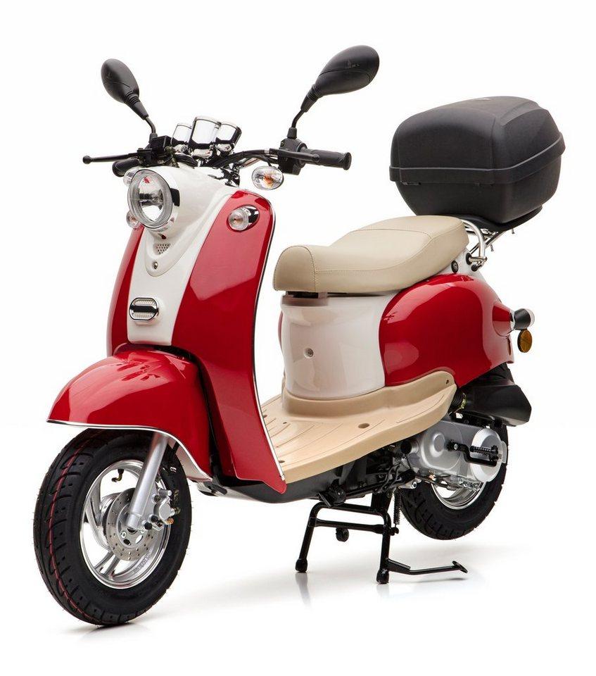 Nova Motors Mofaroller inkl. Topcase, 49 ccm, 25 km/h, rot weiß, »Venezia II« in rot-weiß