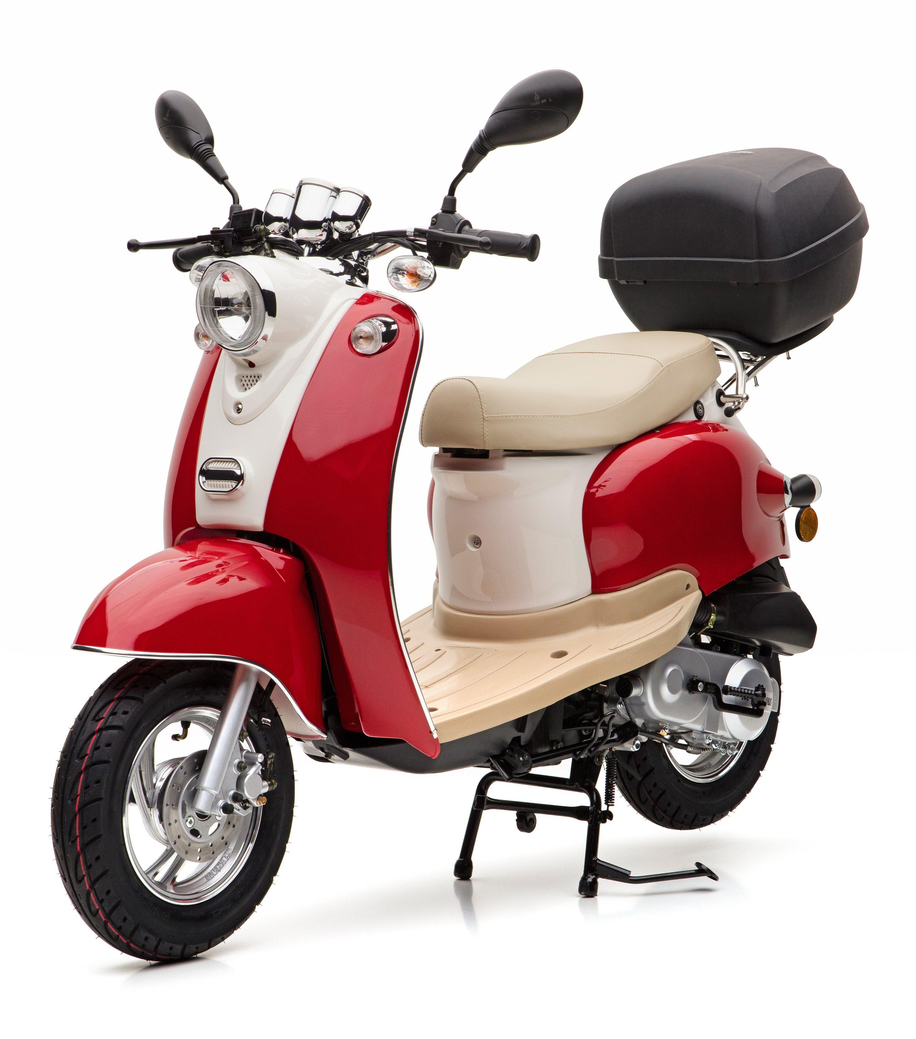 Nova Motors Mofaroller inkl. Topcase, 49 ccm, 25 km/h, rot weiß, »Venezia II«