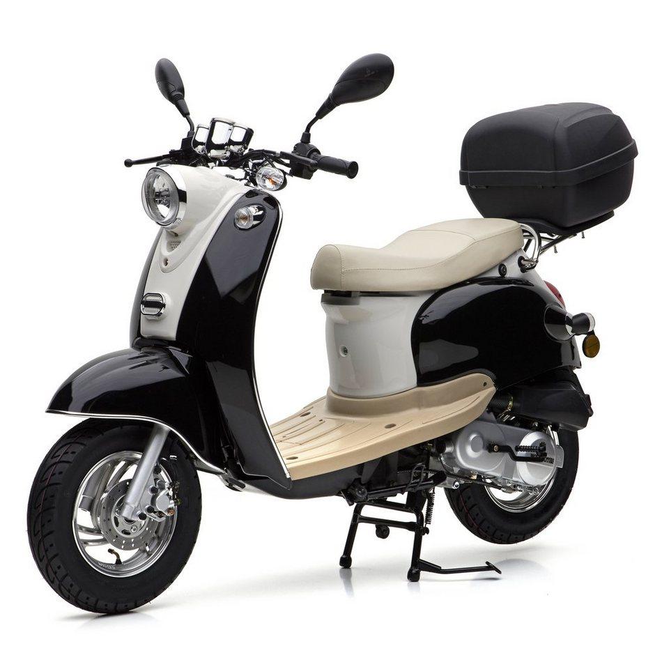 Nova Motors Motorroller inkl. Topcase, 49 ccm, 45 km/h, schwarz weiß, »Venezia II« in schwarz-weiß